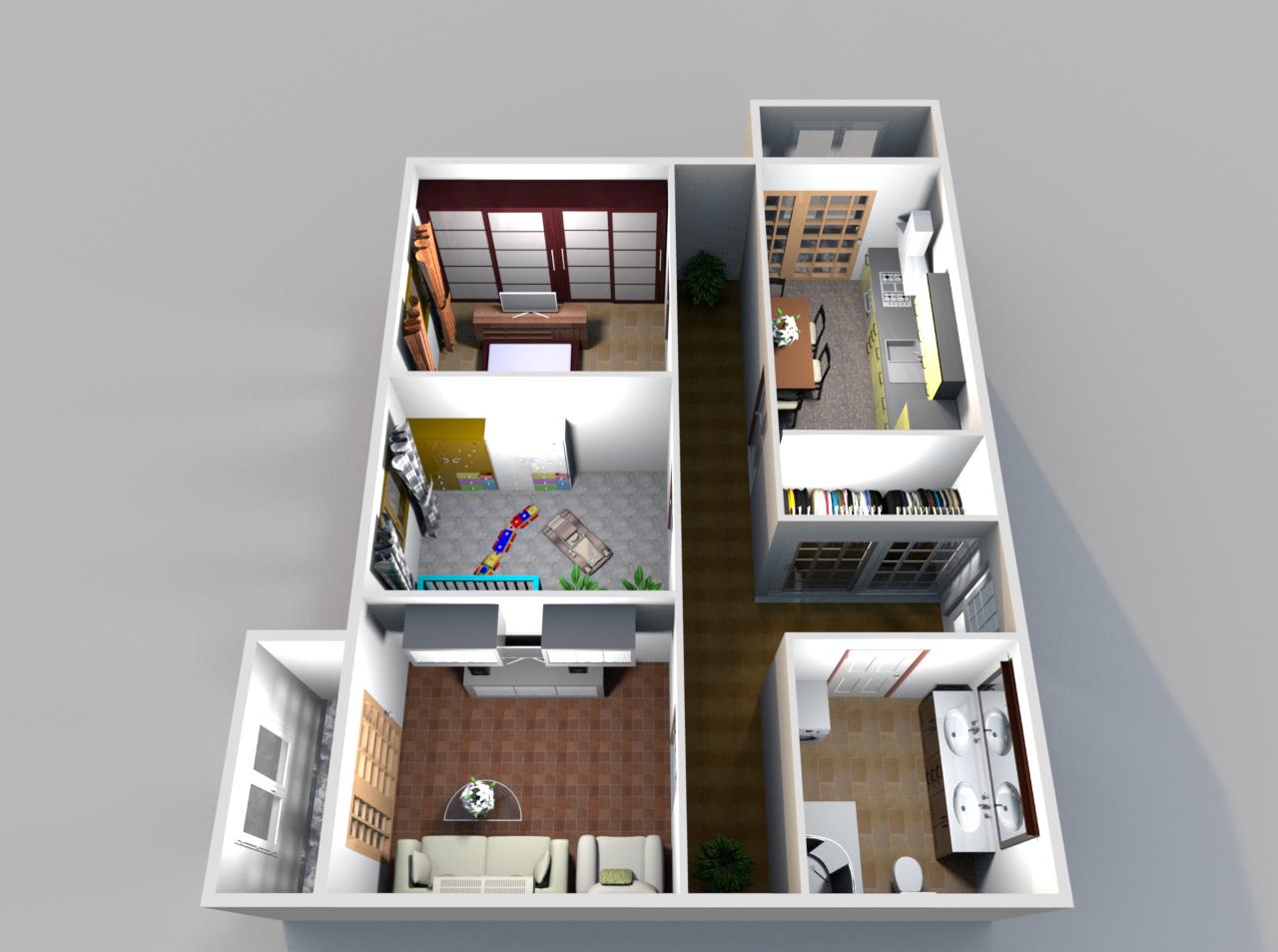 Трехкомнатная квартира с двумя балконами