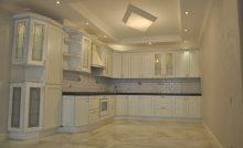 Кухня с мраморным полом