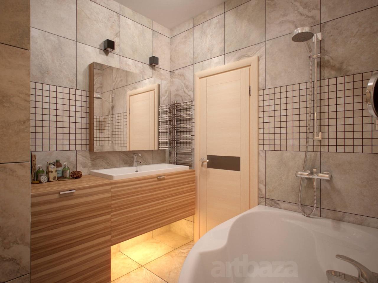 Санузел с большой ванной
