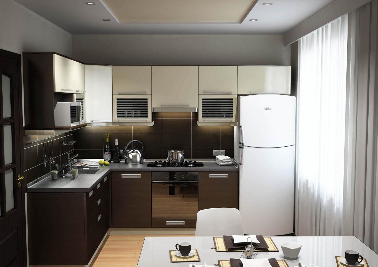 Угловая кухня в коричневых тонах