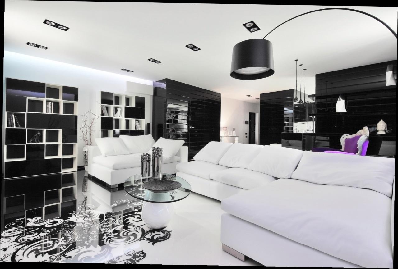 Просторная гостиная в черных тонах
