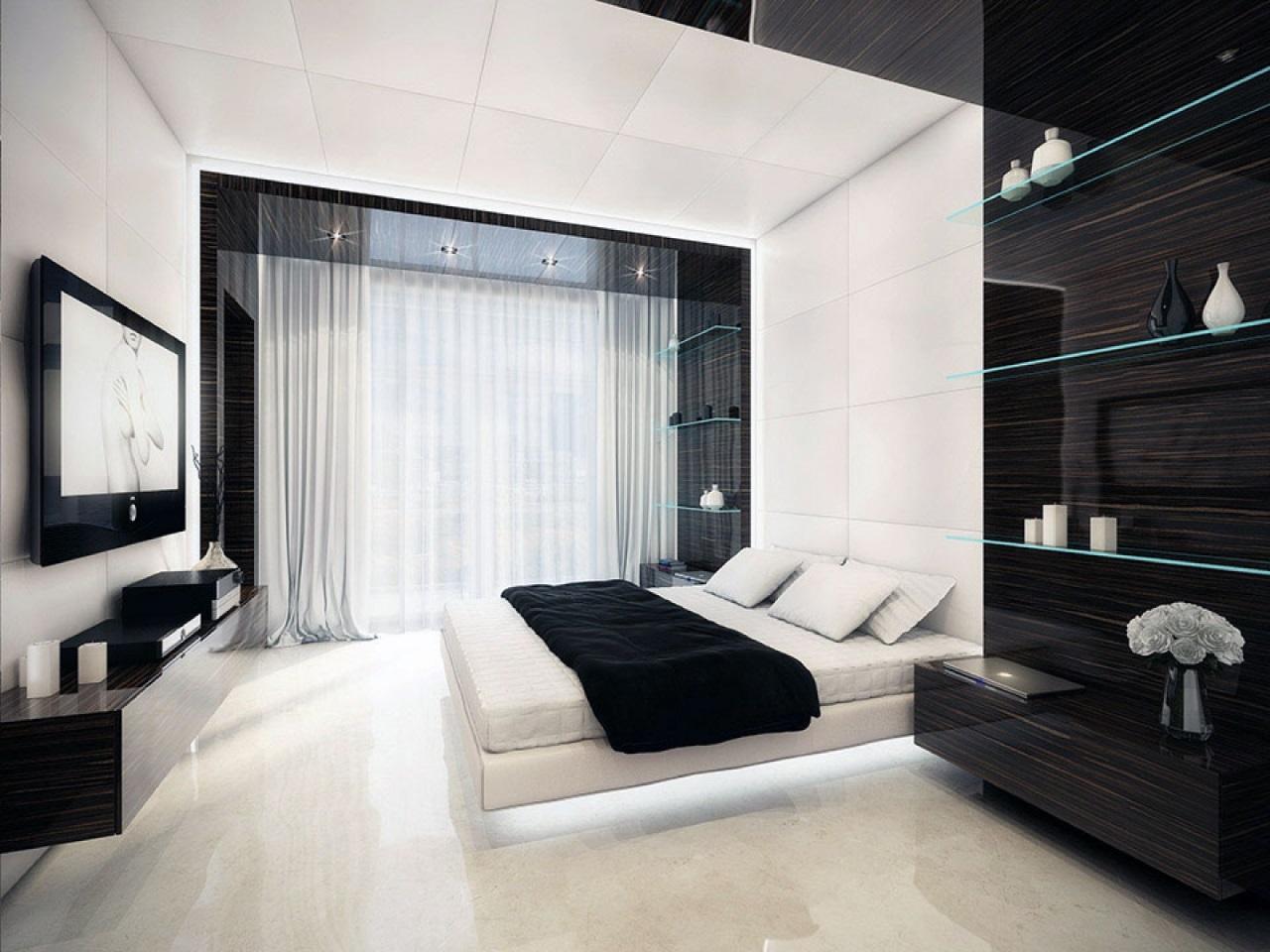 Спальная в черных тонах с видом на море