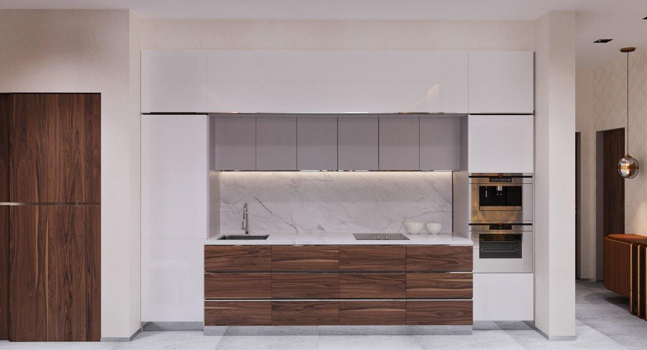 Кухня с фасадами из натурального шпона