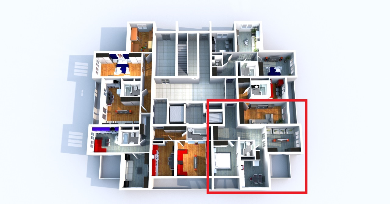 План первого этажа с квартирами