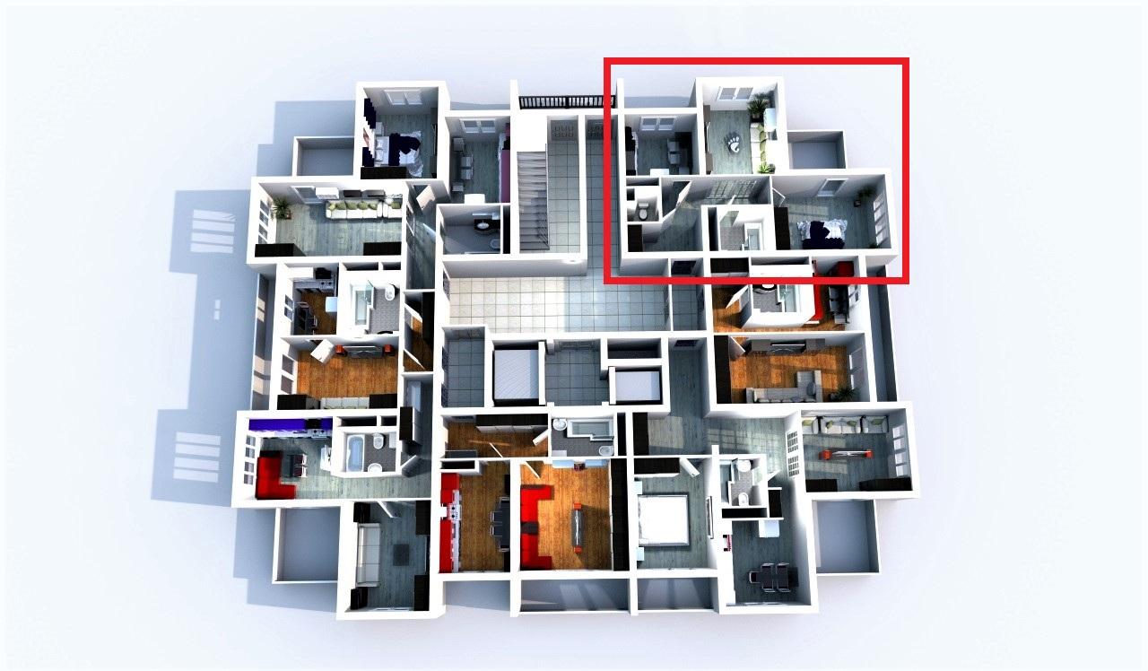 Квартира на плане этажа