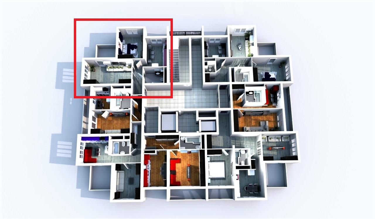 Планировка на этаже угловой квартиры